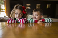 Siblings leaning on table at home - CAVF38422