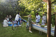 Multi-ethnic friends enjoying summer party at yard - MASF04144