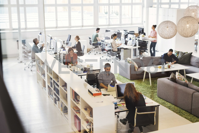 High angle view of business people working in modern office - MASF04305