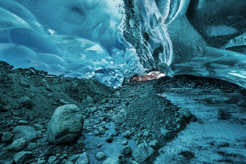 Majestic view of Blue glacial ice cave at Mendenhall Glacier - CAVF38663