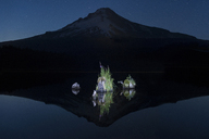 Symmetry view of Trillium Lake against Mt Hood during night - CAVF38744