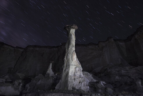 Majestic view of Wahweap Hoodoos over star trails - CAVF38777