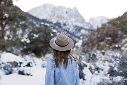 Rear view of woman standing against snowcapped mountain - CAVF38846