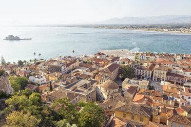 Greece, Peloponnese, Argolis, Nauplia, Argolic Gulf, Old town, View from Akronauplia to Bourtzi Castle - MAMF00041