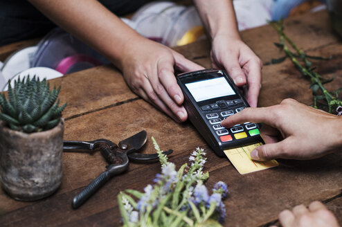 Cropped image of customer paying with credit card - CAVF39851