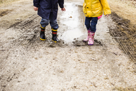 Low section of siblings playing in muddy puddle - CAVF40091