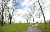 Rear view of siblings walking on footpath against cloudy sky at park - CAVF40100