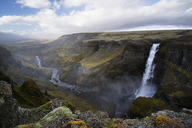 Scenic view of Haifoss waterfall against sky - CAVF40946