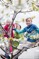 Portrait of siblings on tree branch with father standing in yard - MASF04685