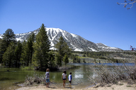 Rear view of siblings standing by lake against clear sky at Inyo National Forest - CAVF41882