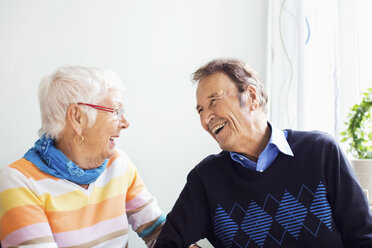 Happy senior couple spending leisure time at nursing home - MASF04946