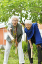 Excited senior people enjoying kubb game at park - MASF05068