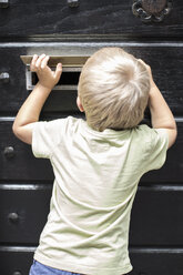 Rear view of little boy looking through mail slot of door - MASF05434