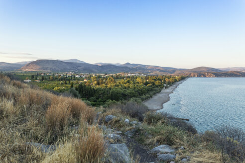 Greece, Peloponnese, Arcadia, View from ancient Asini to Plaka beach and Drepano - MAMF00066