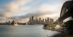 Australia, New South Wales, Sydney, Skyline with Sydney Opera House and Sydney Harbour Bridge - MKFF00337