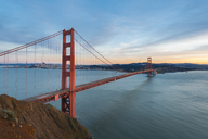USA, California, San Francisco, Golden Gate Bridge at sunset - MKFF00346