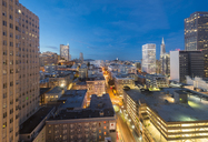 USA, California, San Francisco, Chinatown, Financial District, Coit Tower in the evening - MKFF00355