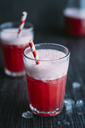 Drink: Switchel, drink with ginger, apple vinegar, coconut water, cranberry juice, lemon, cruched ice, honey - IPF00442