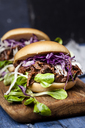 Vegan jackfruit jurger with red cabbage, white cabbage, lamb's lettuce - SBDF03529