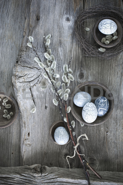 Hand-painted Easter eggs, Pussy Willow twigs and cloth on wood - ASF06178