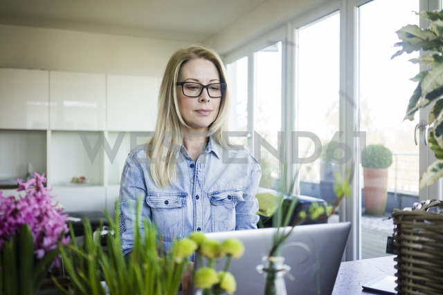 Portrait of blond businesswoman wearing glasses using laptop - MOEF01066