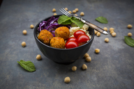 Couscous sweet potato falafel bowl with red cabbage, tomato, mint and hummus - LVF06886
