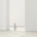 Robot in an empty room, 3d rendering - UWF01381