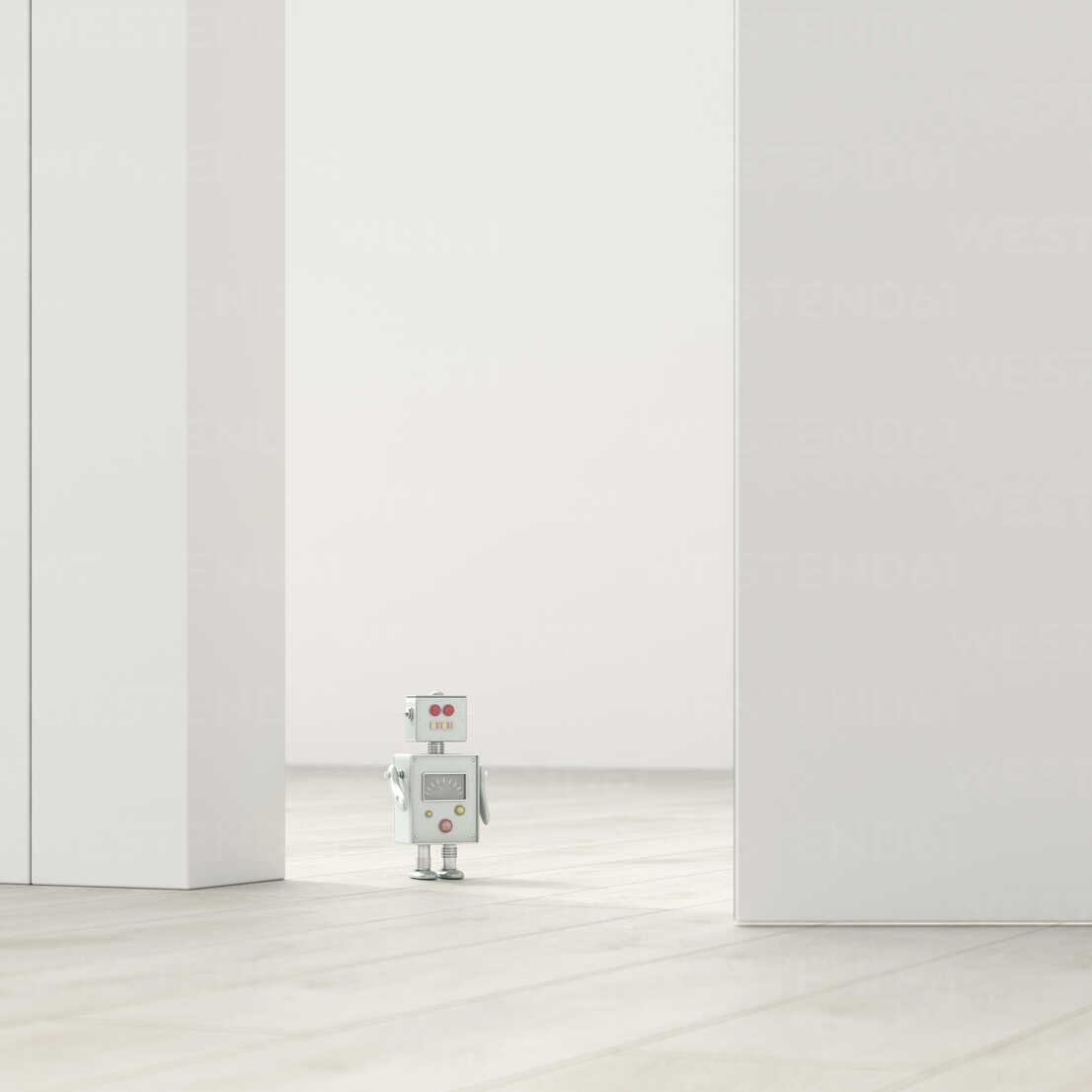 Robot in an empty room, 3d rendering - UWF01381 - HuberStarke/Westend61