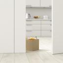 Cardboard box with groceries in kitchen behind ajar door, 3d rendering - UWF01384