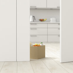 Cardboard box with groceries in kitchen behind ajar door, 3d rendering - UWF01384