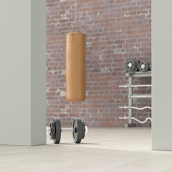 Fitness room behind ajar door, 3d rendering - UWF01387