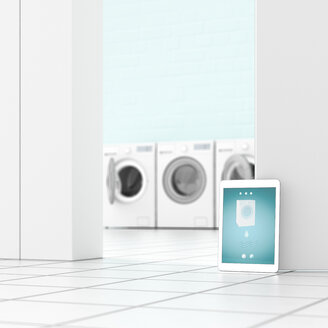 Tablet in laundry room, 3d rendering - UWF01390