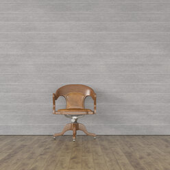Old-fashioned chair in front of modern concrete wall, 3d rendering - UWF01393
