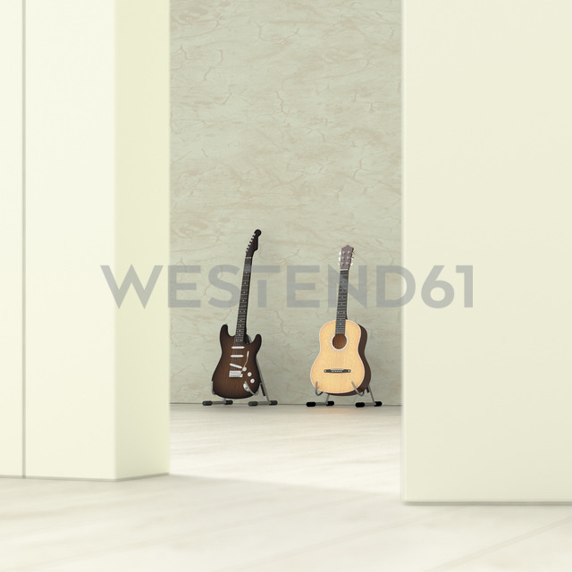 Guitars in a room behind ajar door, 3d rendering - UWF01396