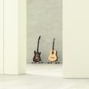 Guitars in a room behind ajar door, 3d rendering - UWF01396