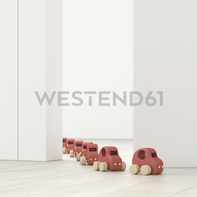 Model cars in a row in an empty room, 3d rendering - UWF01399 - HuberStarke/Westend61