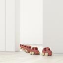 Model cars in a row in an empty room, 3d rendering - UWF01399