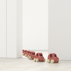 Model cars in a row in an empty room, 3d rendering - UWF01399