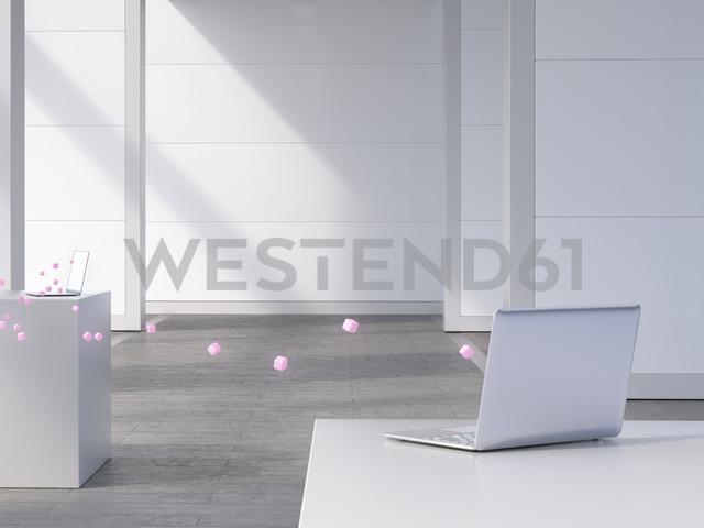 Two laptops connected by pink cubes, 3d rendering - UWF01405 - HuberStarke/Westend61