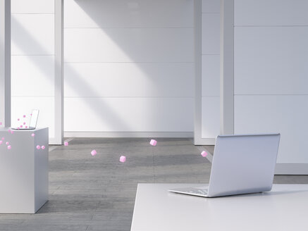 Two laptops connected by pink cubes, 3d rendering - UWF01405