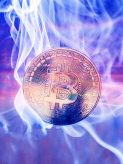 Bitcoin and smoke, cryptocurrency - EJWF00878