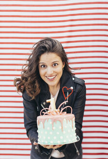 Portrait of woman with Birthday cake - JPF00305