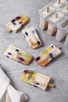 Homemade fruits and yogurt ice lollies on marble - RTBF01210
