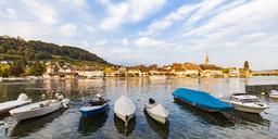 Switzerland, Canton of Schaffhausen, Stein am Rhein, Rhine river, old town and fishing boats - WDF04609