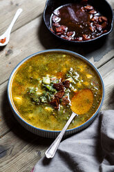 Caldo verde, soup with green cabbage, chorizo and potato - SBDF03549