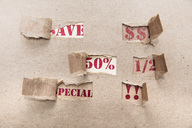 Sale, brown paper, special, save, 50 percent, US-Dollar - ZEF15389
