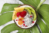 Coconut bowl with variuos fruits, natural yoghurt and seeds on leaf - RTBF01226