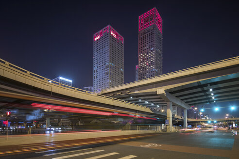 China, Beijing, Central business district and traffic at night - SPP00028