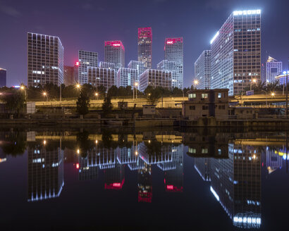 China, Beijing, Central business district and traffic at night - SPPF00031