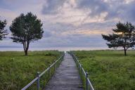 Germany, Ruegen Island, Binz, wooden boardwalk to beach in the evening - RUEF01867